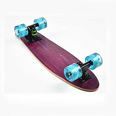 Xinxin Fish Board Adult Four-Wheel Skateboard Personality 56cm Single-warp Skateboard (Color : Purple) : Sports & Outdoors