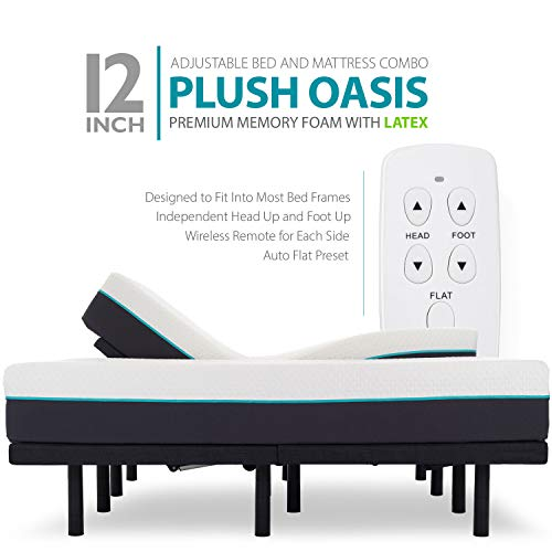 "Blissful Nights 12"" Split King Premium Cool Medium Soft Ventilated Memory Foam with Latex Support Mattress and Adjustable Bed Frame Combo"