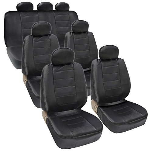 18pcs 3 Row Full Set Seat Covers PU Leather Black – Universal Fit Most Car Truck SUV or Van