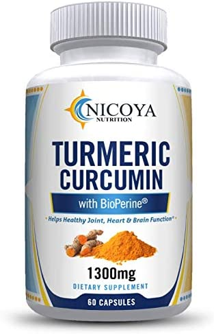 Turmeric Curcumin with Bioperine 1300mg – Premium Joint Support Pain Relief Vitamin Supplement