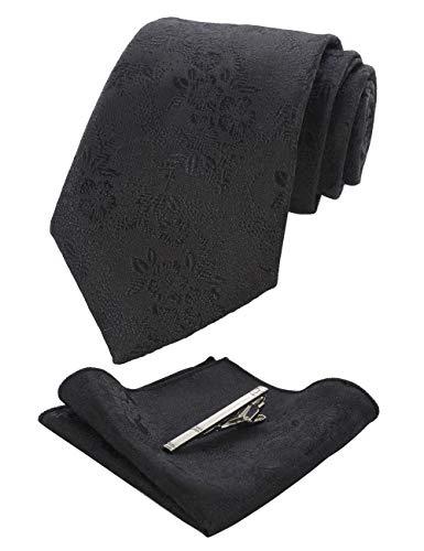 JEMYGINS Silk Black Floral Necktie and Pocket Square, Hankerchief and Tie Bar Clip Sets for Men (9) ()