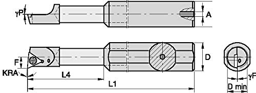 Right 0.5 Shank Diameter -5/° Angle 3 Length WIDIA WIDIA Circle FCBI312500155R FCBI Small Hole Boring Bar for Turning Carbide Stepped Boring Bar