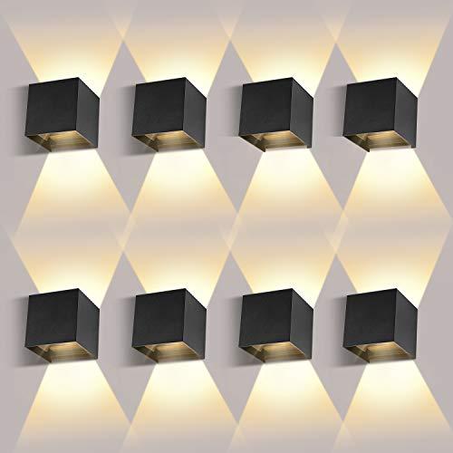 LEDMO 8 Pack LED Wandlamp Binnen / Buiten12W 3000K Warmwitte Buitenverlichting wandverlichting LED Buitenwandlamp met…
