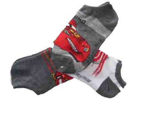 Disney Pixar Cars No-show Socks 3-pk Kids Fits Sizes 6-8 1//2 Grey//white Little//kids