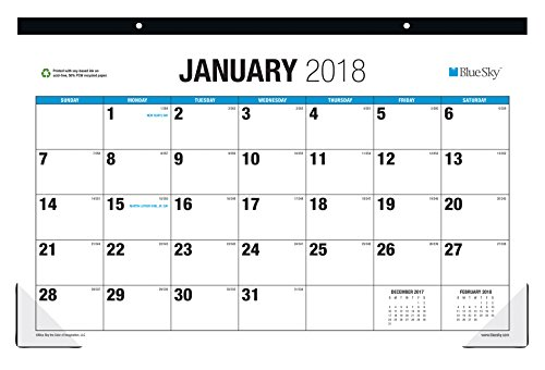Blue Sky 2018 Monthly Desk Pad Calendar, Large Print, 17