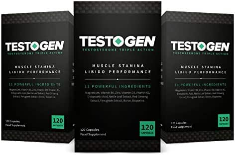 3-Pack TestoGen Triple-Action Testosterone Booster with Powerful Natural Ingredients, Helps Improve Stamina, Strength and Energy (360 Capsules)