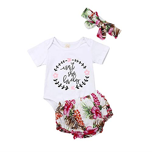 Infant Baby Girls Summer Clothes Isnt She Lovely Romper Tops Floral Ruffles Bloomer Shorts 3Pcs Outfits Set (Pink, 18-24 Months)