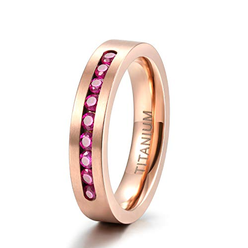 TIGRADE 4MM Women Titanium Rose Gold Ring Wedding Band with 9 Small Channel Set Cubic Zirconia Inlay Size 10 ()