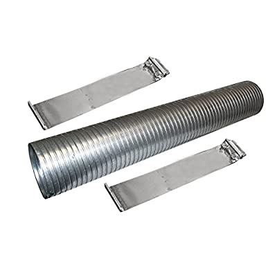 """48"""" Galvanized Flexible Exhaust Tubing 4"""" Diameter Flex Pipe with 2 Band Clamps: Automotive"""