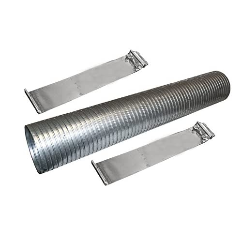 "Wholesale 18"" Galvanized Flexible Exhaust Tubing 5"" Diameter Flex Pipe with 2 Band Clamps free shipping"