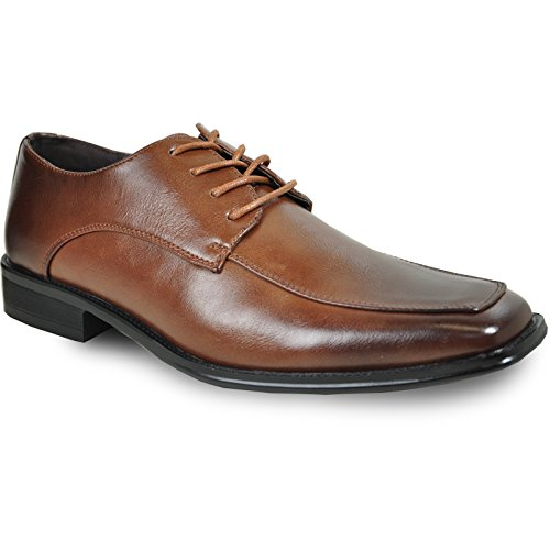 BRAVO Men Dress Shoe MILANO-2 Classic Oxford with Square Moc Toe and Leather Lining Brown 10.5M