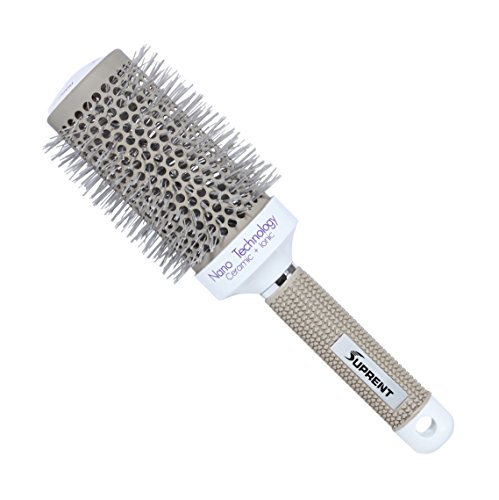 SUPRENT Nano Thermal Ceramic & Ionic Round Barrel Hair Brush, 2 inch, for Hair Drying, Styling, Curling, Adding Hair Volume, Light Grey and White Color (Ceramic Hair Drying Brush compare prices)