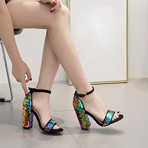 2941d3b26 Women High Chunky Heel Pumps Shoes Sequined Sandals Ankle Strap Ladies  Party Shoes (Multicolor