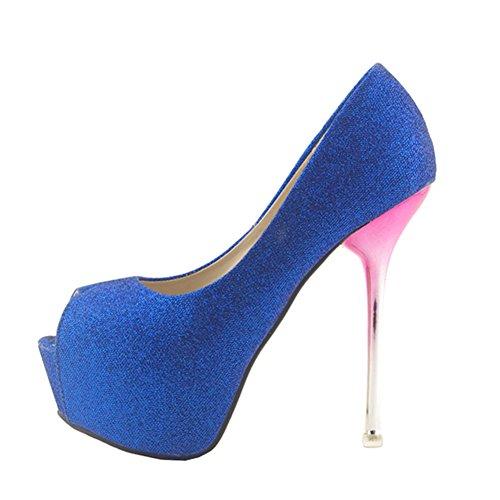 Getmorebeauty Women Glitter Evening Party Queen Open Toes Platform High Heels (5 B(M) US, Blue)