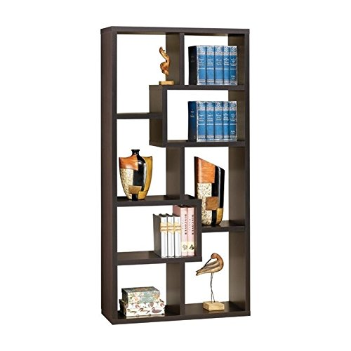 Bowery Hill Contemporary Asymmetrical Cube Bookcase in Deep Cappuccino Finish