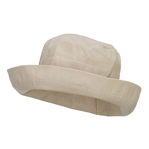 Women's Upturned Crushable Hat - Beige OSFM