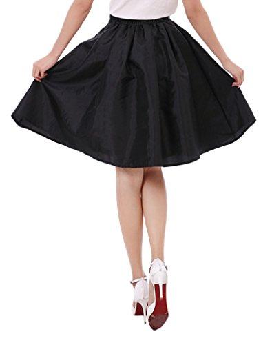 Eyekepper Faldas Plisadas de Línea-A Vestido de Bola Sólida de Las Mujeres Negro