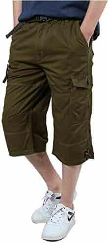 6c51b6ad94 IDEALSANXUN Men's Casual Loose Fit Straight Leg Elastic Waist Twill Cargo  Shorts
