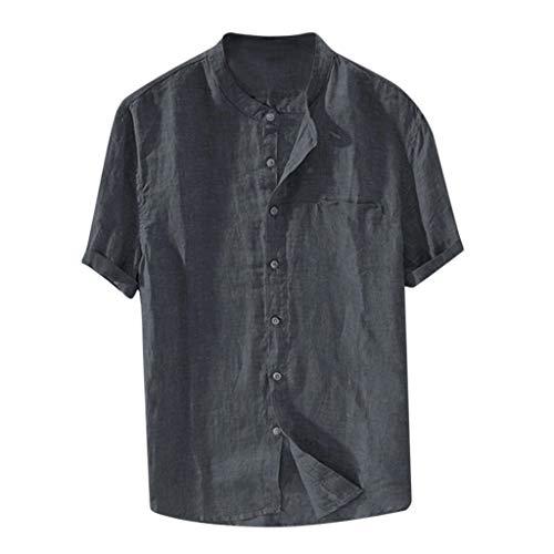 Cotton Linen Tops for Men Baggy Cotton Linen Solid Color Short Sleeve Button Down Retro T Shirts Tops Blouse