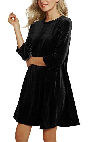 3 Vestito GoCo Manica Partito Vestito Brillante Abito Velluto Nero 2 Cocktail Sera Urban Donna Corto Elegante 4 Fqw4YYvx