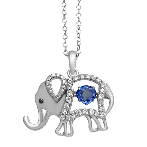Jewelili Sterling Silver Synthetic Blue Spinel Heart With Created White Sapphire Elephant Pendant Necklace, 18