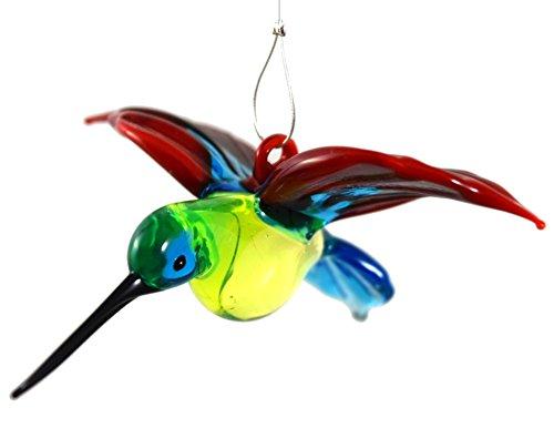 American Made Hanging Glass Figurine Ornament - Red Blue Hummingbird