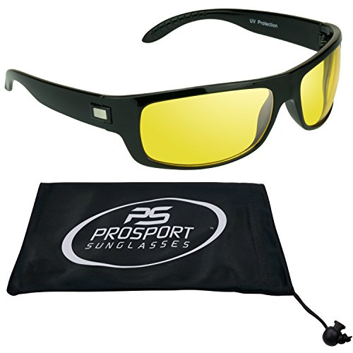 Yellow Lens Sunglasses with UV A and UV B. Free Microfiber Cleaning Case - Glasses Motorcycle Yellow