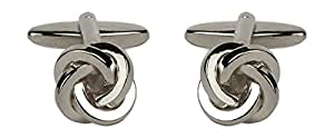 Single Cord Square section knot - Rhodium plate Cufflinks. A Great pair of cufflinks/Tie Clip or Othet Accessory… The perfect Gift for some one special.