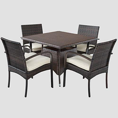 - Great Deal Furniture 295858 Carmela 5 Piece Outdoor Patio Furniture Wicker Dining Set, Brown