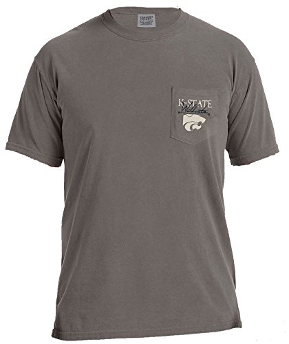 NCAA Kansas State Wildcats Adventures Short Sleeve Comfort Color Pocket Tee, Grey, Large