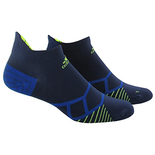 adidas Energy Running Single No Show Socks, Collegiate Navy/Solar Yellow, Medium (Adidas Elite Sock)