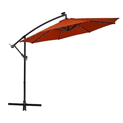 PHI VILLA 10ft Offset Hanging Umbrella with 32 PCS LED Lights Solar Powered Patio Umbrella with Crossbase, 8 Ribs, Orange Red ()
