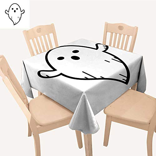 UHOO2018 Square/Rectangle Polyester Tablecloth Table Cover Ghost Doodle Cartoon Character Lines Isolate Symbol Halloween for Dining Room,23 x 27inch