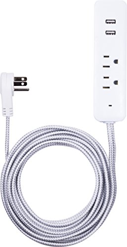 Cordinate Designer USB Charging Station Extension Cord, Power Strip Surge Protector, 2 Outlets, 2 USB Ports, Extra Long 10 Ft Cable with Flat Plug, Braided Cord, 2.4A Fast Charge, Gray/White, 41691 by Cordinate