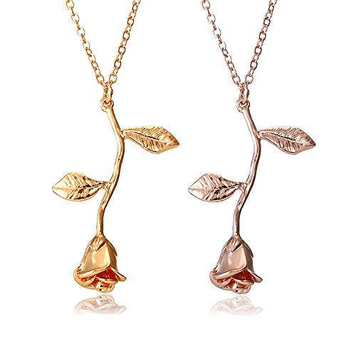 Gmai Vintage Rose Flower Pendant Necklace Lovers Birthday Friendship Jewelry Gift (Gold+Rose Gold)