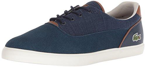 Lacoste Men's Jouer Sneaker Navy tan Canvas 9 Medium ()