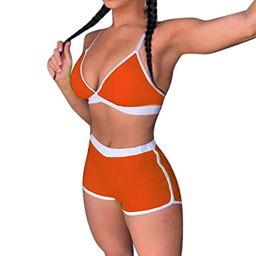 XILALU Sexy Women Solid Push-Up Sport Padded Bra Bra Panty Beach Bikini Set Swimsuit Swimwear Orange -