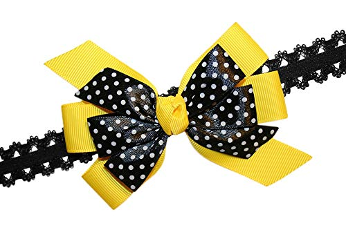 (WD2U Baby Girls Yellow & Black Dotted Bee GrosGrain Hair Bow Stretch Headband)