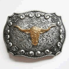 (Golden Long Horn Bull Western Belt Buckle)
