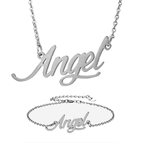(Personalized Name Necklace + Name Bracelet Sets for Women Nameplate Pendant Gift -Angel Silver Set)