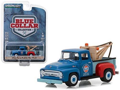 StarSun Depot 1956 Ford F-100 Tow Truck Mel's Garage Gulf Oil Blue Collar Collection Series 4 1/64 Diecast Model Car by Greenlight