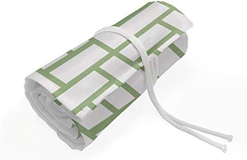 ABAKUHAUS Grün Mäppchen Rollenhalter, Maze geformte Quadrate Linien, langlebig und tragbar Segeltuch Stiftablage Organizer, 36 Schlaufen, Pistachio Grün Weiß