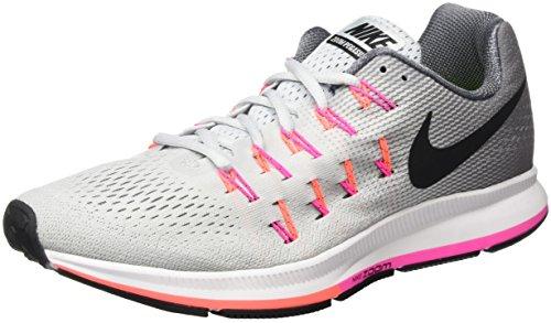 Nike Damen Air Zoom Pegasus 33 Laufschuhe, Grau (Pure Platinum/Black-Cool Grey-Pink Blast), 40.5 EU