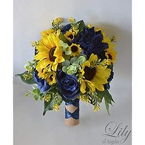 Wedding Bouquet, Bridal Bouquet, Bridesmaid Bouquet, Silk Flower Bouquet, Wedding Flower, Yellow, Sunflower, mini Sunflower, navy blue, blue, dark blue, navy, burlap, rustic, greenery, Lily of Angeles 5