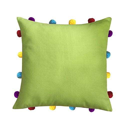 (LUSHOMES Palm Cushion Cover with Colorful pom poms (Single pc, 14 x 14