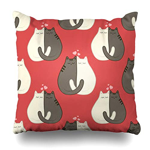 Printable Red Heart - iDecorDesign Throw Pillow Covers Grey Couple Two Cats Pattern On Red Wildlife Cute Doodle Flat Heart Printable Home Decor Pillow Case Square Size 16 x 16 Inches Pillowcase