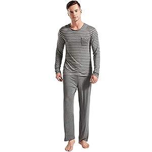 Suntasty Men's Striped Crew Neck Long Sleeve Top with Lounge Bottom Pajama Set