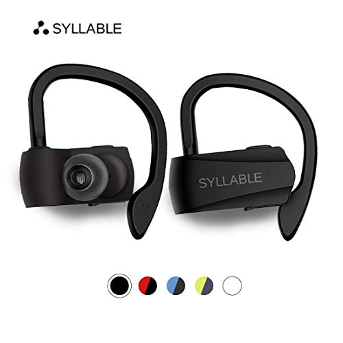 Syllable Bluetooth Headphones,Wireless Earbuds, HD Stereo Sound Wireless Headset Bluetooth 5.0,Real IPX5 Sweatproof for sports, music,6H Playtime Built-in Microphone(Black)