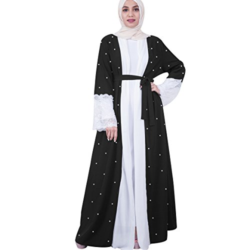 AOFJOSFHS Women's Pearl Inlay Modest Muslim Cardigan Islamic Open Front Abaya Jilbab Coat (M) by AOFJOSFHS