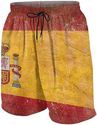 YANAIX Hombre Pantalones Cortos de Playa,Bandera española Vintage,Secado Rápido Bañador Estampado Beach Shorts XL: Amazon.es: Deportes y aire libre